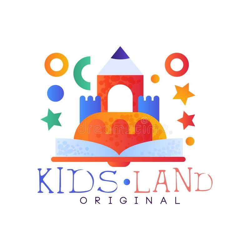 Dzieciaki lądują loga oryginał, kreatywnie etykietka szablon, boisko, rozrywkę lub edukacyjnego świetlicowego odznaka wektor, royalty ilustracja