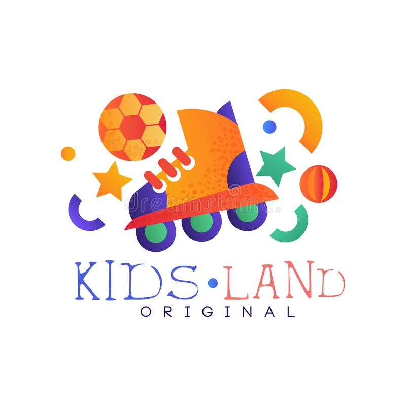 Dzieciaki lądują loga oryginał, odznaki wirh rolownika, kolorowego kreatywnie etykietki szablonu, boiska, rozrywki lub sporta klu ilustracji