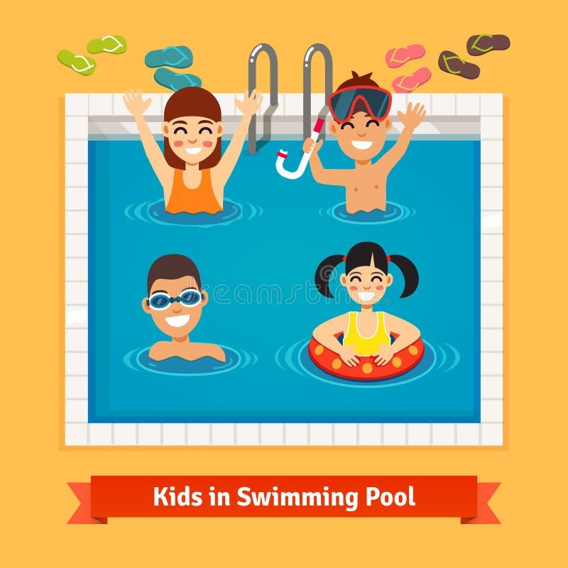 Dzieciaki ma zabawę i dopłynięcie w basenie ilustracji