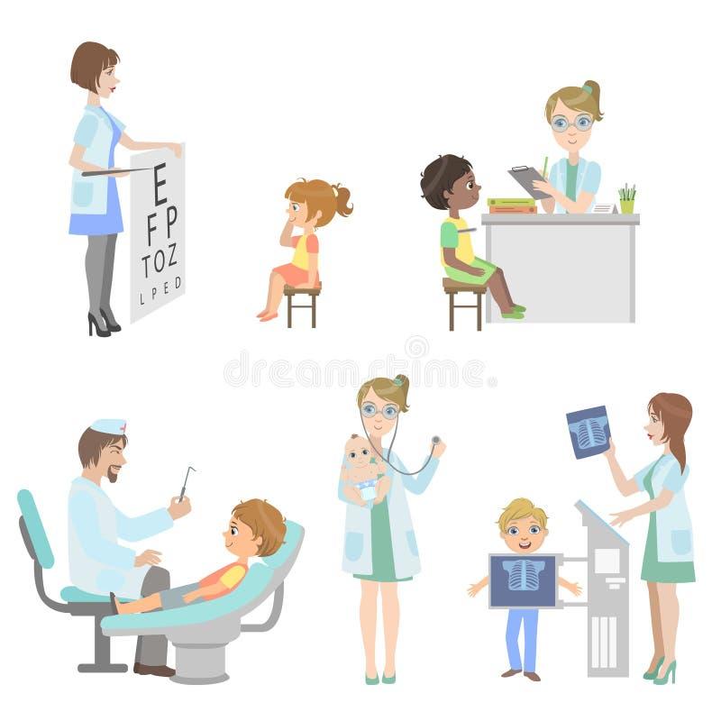 Dzieciaki Na Medycznego Checkup secie royalty ilustracja