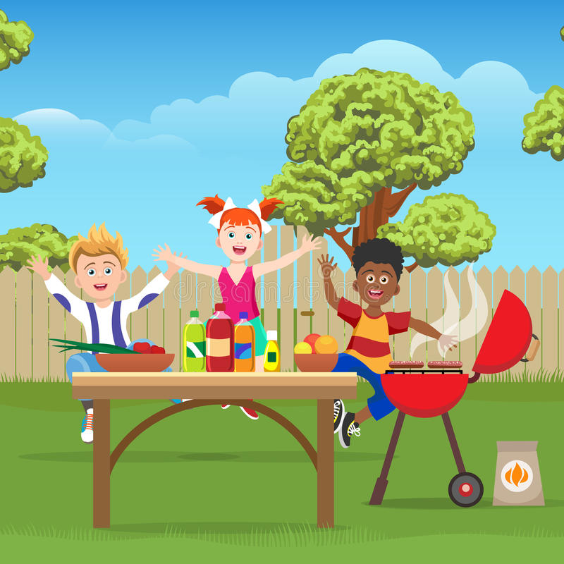 Dzieciaki na pinkinie w zieleń ogródzie ilustracji