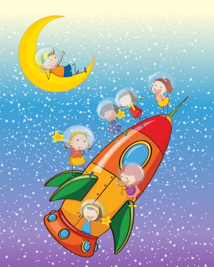 Dzieciaki na rakiecie royalty ilustracja