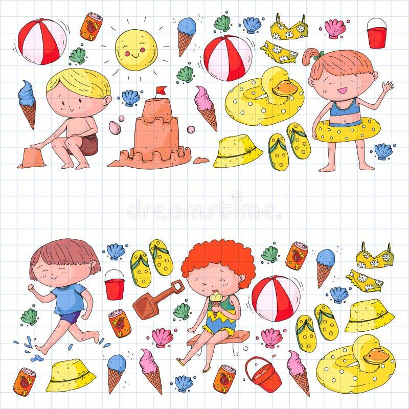 Dzieciaki na szczęśliwym wakacje letni Plaża, podróż, przygoda royalty ilustracja