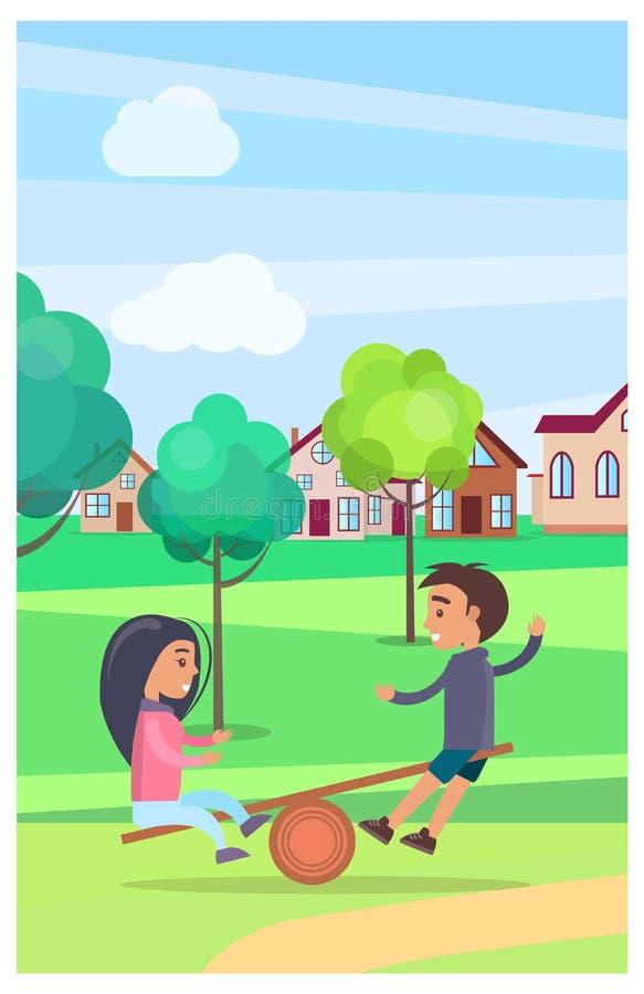 Dzieciaki na Teetering Deskowy Śmieszyć w lato parku royalty ilustracja