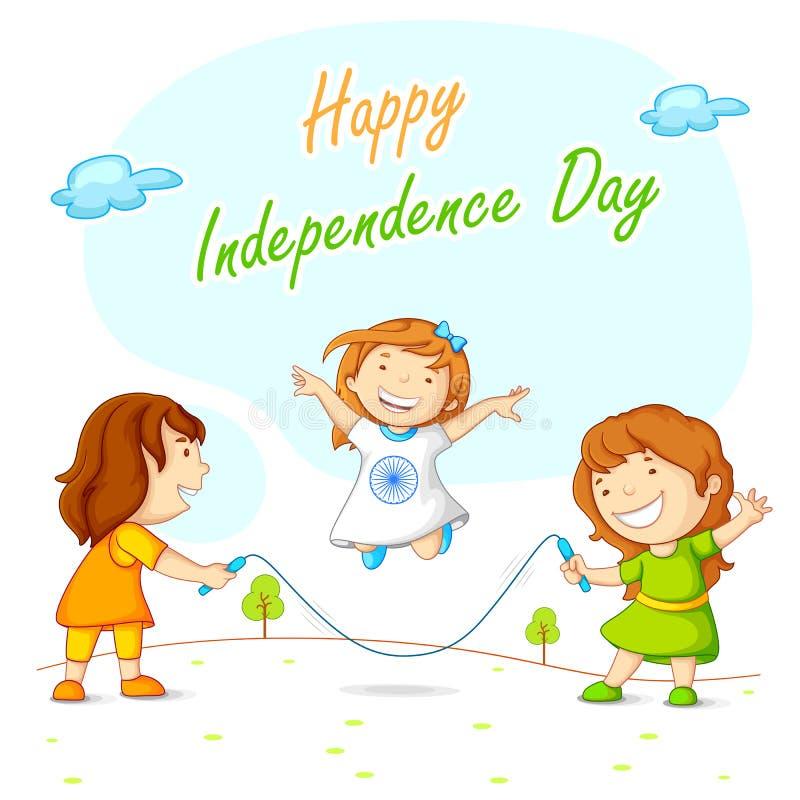 Dzieciaki omija Indiańską niezależność i świętuje royalty ilustracja