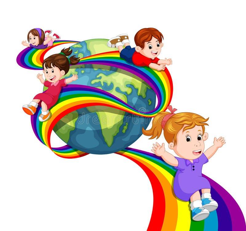 Dzieciaki ono ślizga się na tęczy w niebie ilustracja wektor