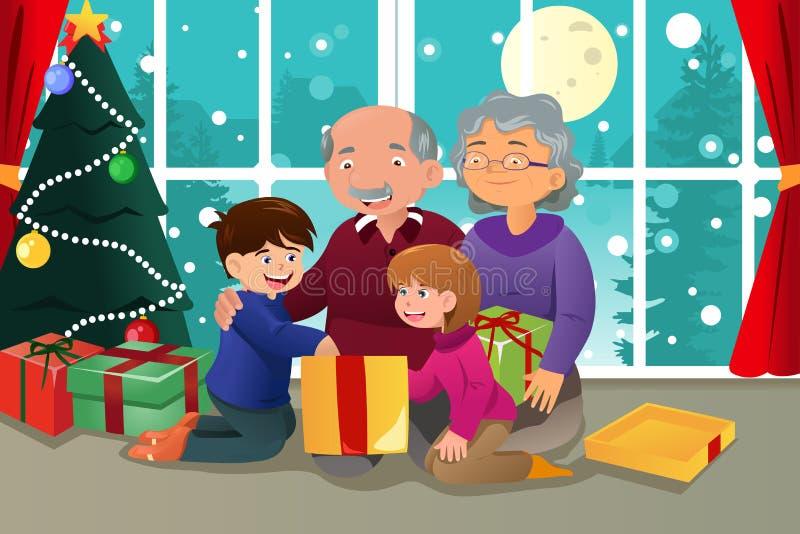 Dzieciaki otwiera Bożenarodzeniową teraźniejszość od dziadków ilustracja wektor