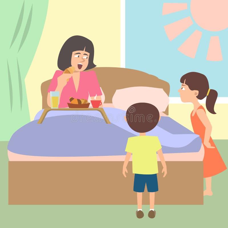 Dzieciaki pampering ich mamy z śniadaniem w łóżku royalty ilustracja