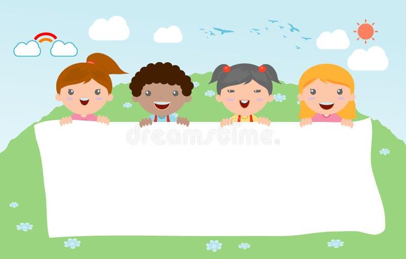 Dzieciaki podpatruje za plakatem, szczęśliwi dzieci, Śliczni małe dzieci na białym tle, wektor royalty ilustracja