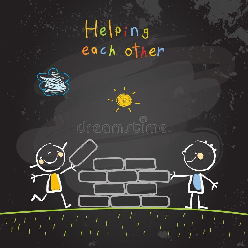 Dzieciaki pomaga each inny royalty ilustracja