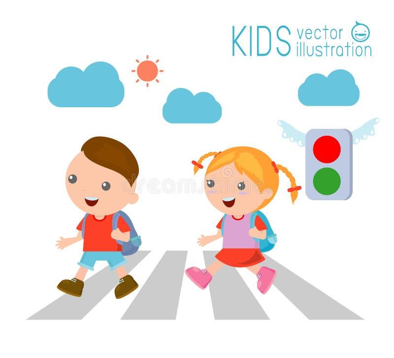 Dzieciaki przez drogę, dzieci iść szkoła, Wektorowa ilustracja royalty ilustracja