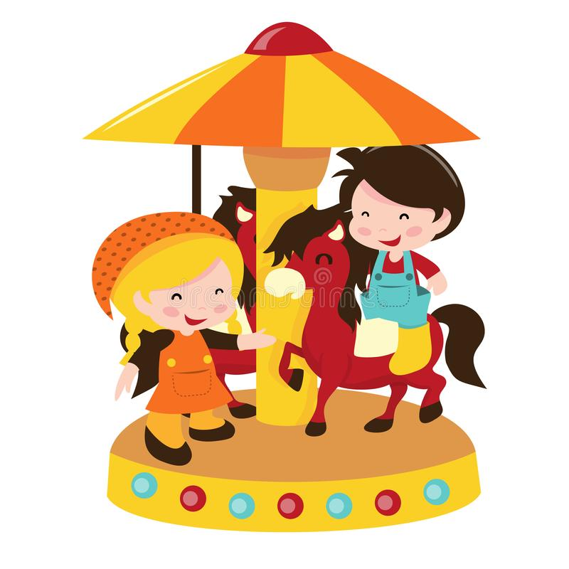 Dzieciaki Przy Końskim Carousel ilustracja wektor