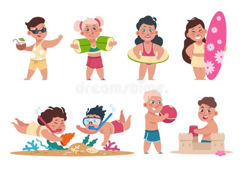 Dzieciaki przy pla?? Kreskówek szczęśliwi dzieci pływa bawić się balowy i robić lato aktywność na wakacjach Wektorowy płaski dzie ilustracji