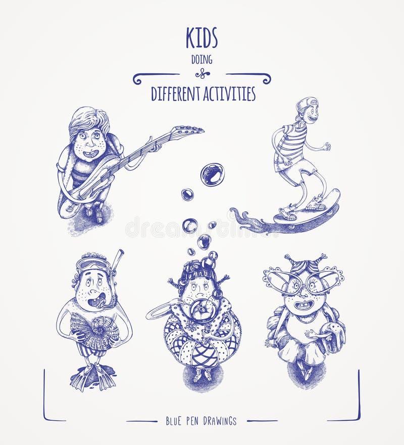Dzieciaki robi różnym aktywność ilustracji