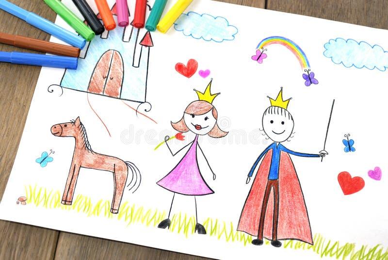 Dzieciaki rysuje princess i książe zdjęcia stock