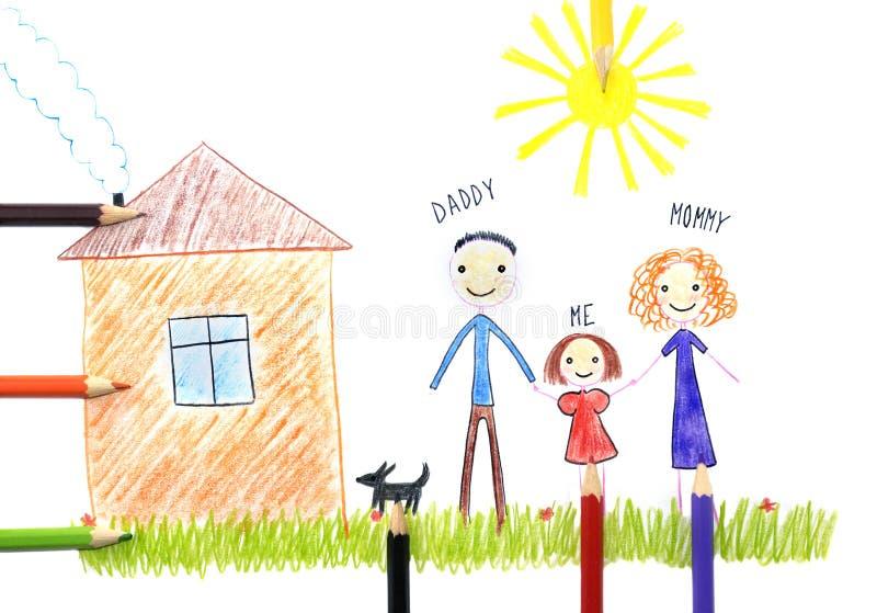 Dzieciaki rysuje szczęśliwy rodzinny pobliskiego ich dom zdjęcia stock