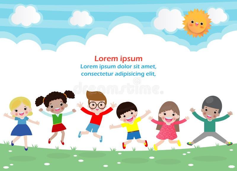 Dzieciaki skacze na parku, dzieci skaczą z radością, szczęśliwy kreskówki dziecko bawić się na boisku, odosobniony tło szablon ilustracja wektor