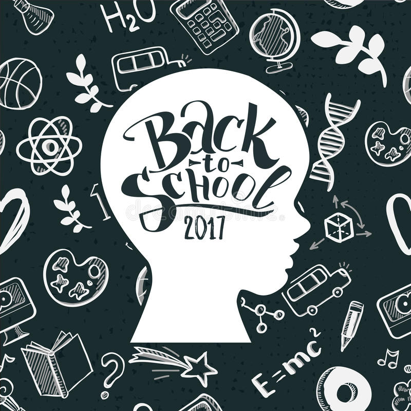 Dzieciaki stawiają czoło Z powrotem szkoła w doodle ramie ilustracji