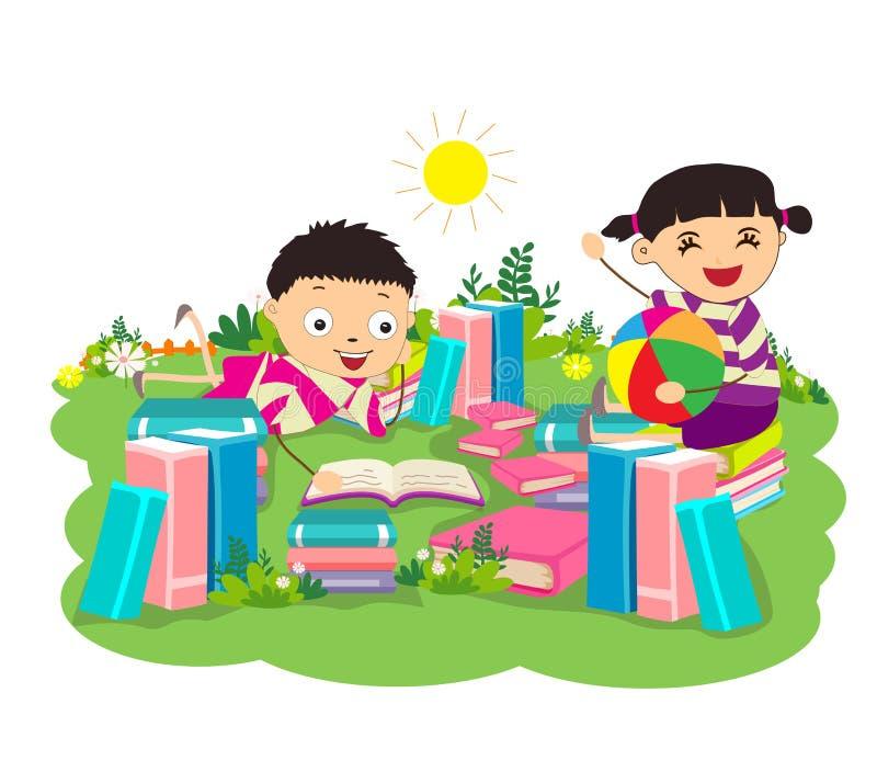 Dzieciaki studiuje książki royalty ilustracja