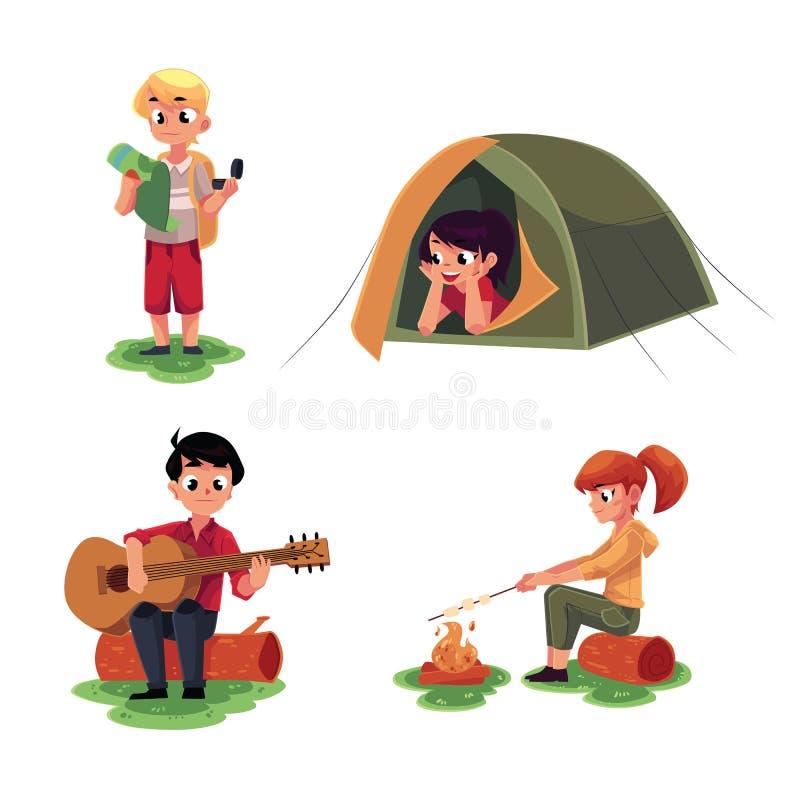 Dzieciaki studiuje mapę, w campingowym namiocie, bawić się gitarę, smaży marshmallow ilustracja wektor