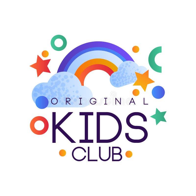 Dzieciaki tłuc loga oryginał, kolorowego kreatywnie etykietka szablon, boisko lub rozrywki świetlicową odznakę z tęcza wektorem, ilustracji