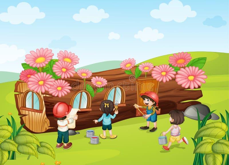 Dzieciaki target975_1_ drewnianego dom ilustracja wektor