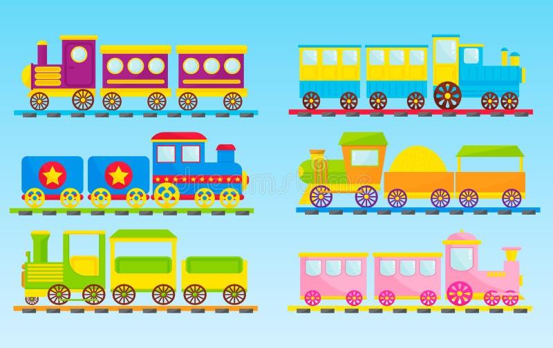 Dzieciaki trenują wektorową kreskówki zabawkę z kolorowej lokomotorycznej blok linii kolejowej zabawy czasu wolnego radości preze ilustracji
