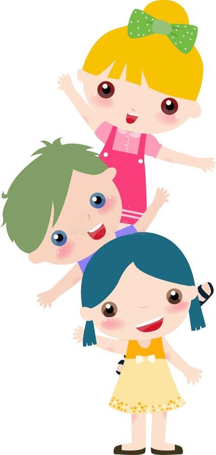 dzieciaki trzy ilustracji
