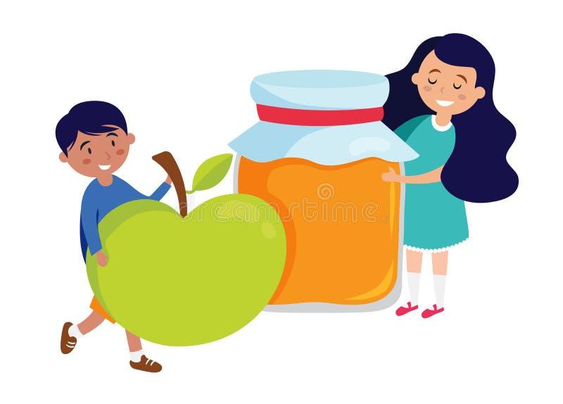 Dzieciaki trzyma miodowego słój i jabłka, Rosh Hashanah symbole wektor ilustracja wektor