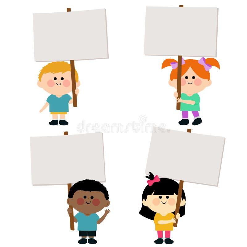 Dzieciaki trzyma puste miejsce znaki ilustracja wektor