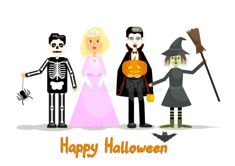 Dzieciaki ubierający w Halloweenowych kostiumach ilustracji