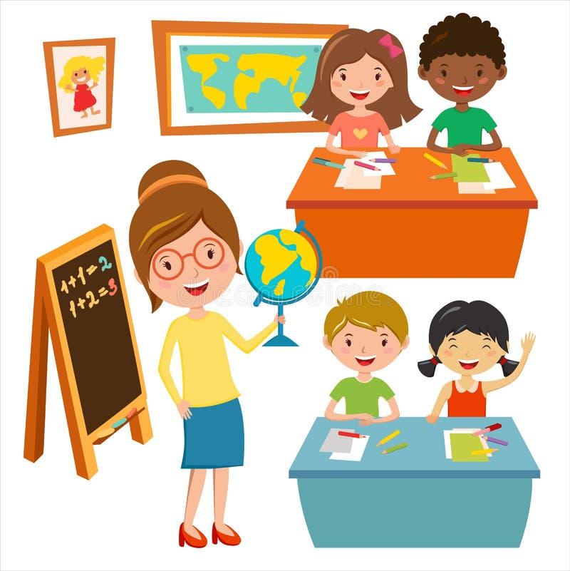 Dzieciaki uczą kogoś geografii lekcje ilustracyjne royalty ilustracja