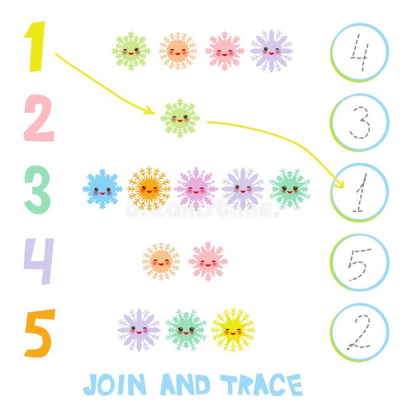 Dzieciaki uczy się numerowego materiał 1, 5 Łączy i Tropi Ilustracja edukaci Odliczająca gra dla Preschool dzieci Kawaii snowf ilustracja wektor