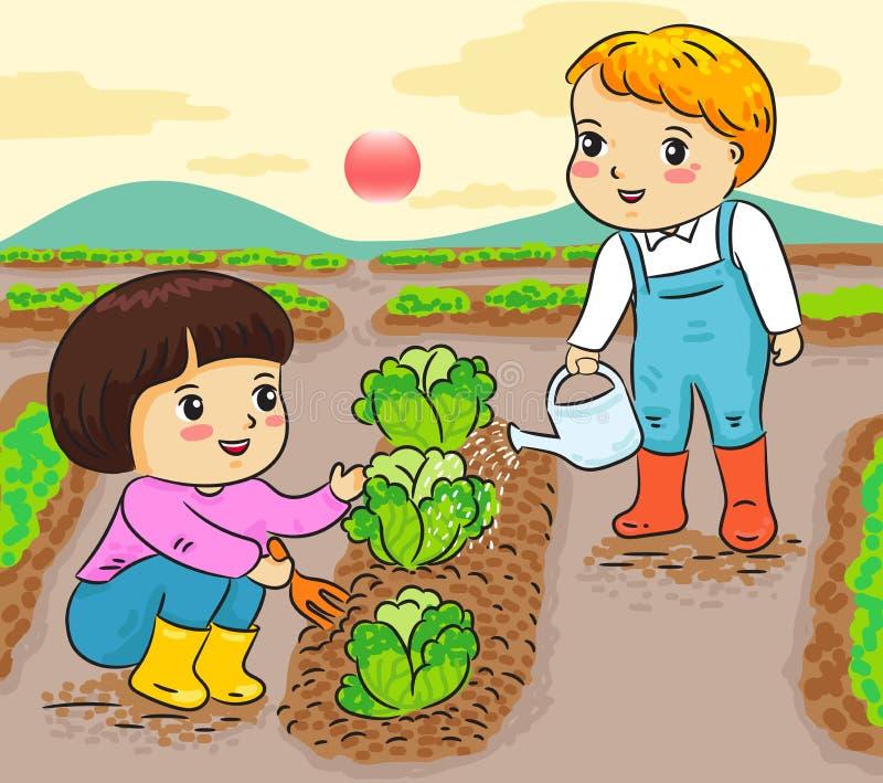 Dzieciaki uprawia ogródek pracować w rolnej wektorowej ilustraci ilustracja wektor