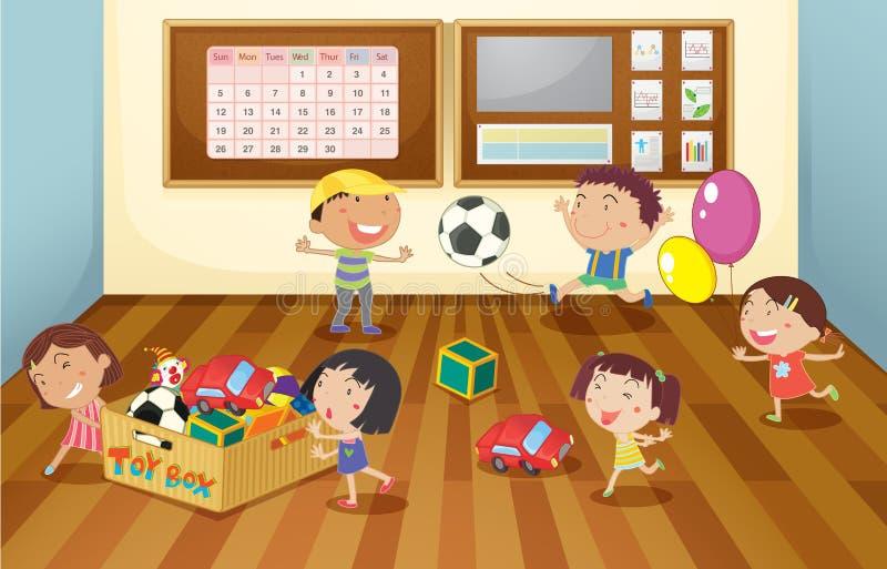 Dzieciaki w klasowym pokoju ilustracji