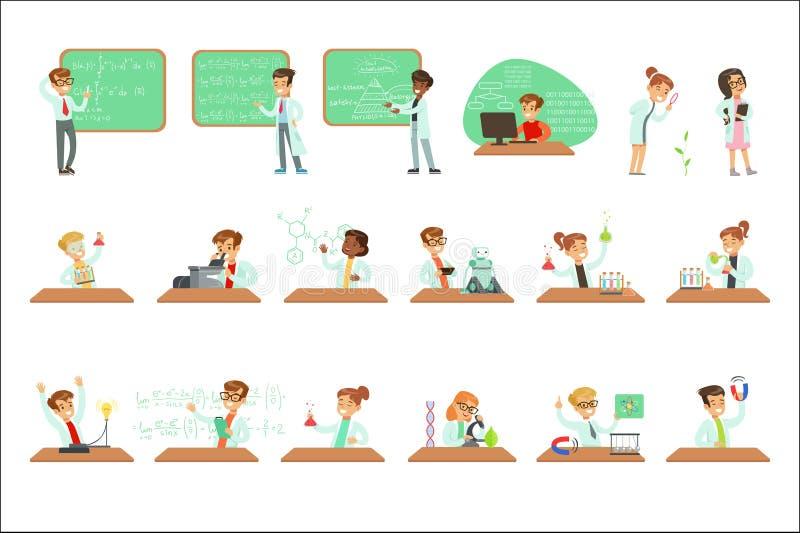 Dzieciaki W Lab żakietach Robi nauki Badawczy Marzyć Zostać Fachowi naukowowie Ustawiający kreskówka W Przyszłości ilustracji