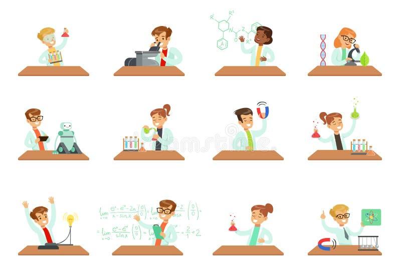 Dzieciaki w lab odzieży robi naukowym eksperymentom z lab wyposażeniem w szkolnych nauki klasy laboratoriach, edukacyjnych ilustracja wektor