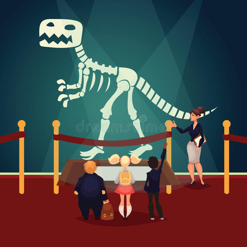 Dzieciaki w muzealnym patrzeje dinosaura koścu ilustracja wektor