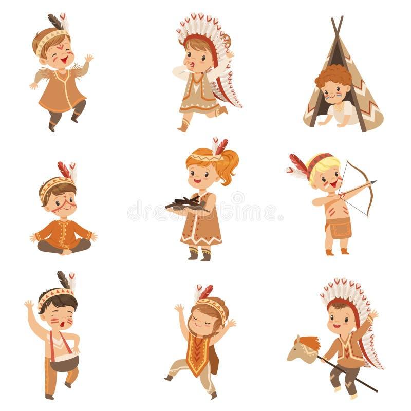 Dzieciaki w rodzimych Indiańskich kostiumach i pióropusze ma zabawę ustawiającą, dzieci bawić się w Amerykańskich indianina wekto ilustracja wektor