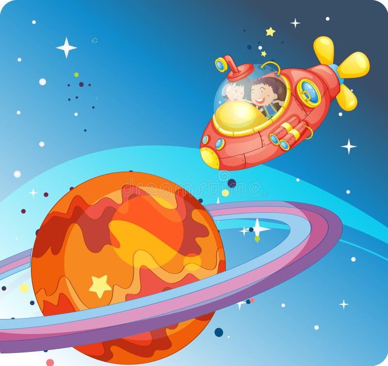Dzieciaki w statek kosmiczny royalty ilustracja