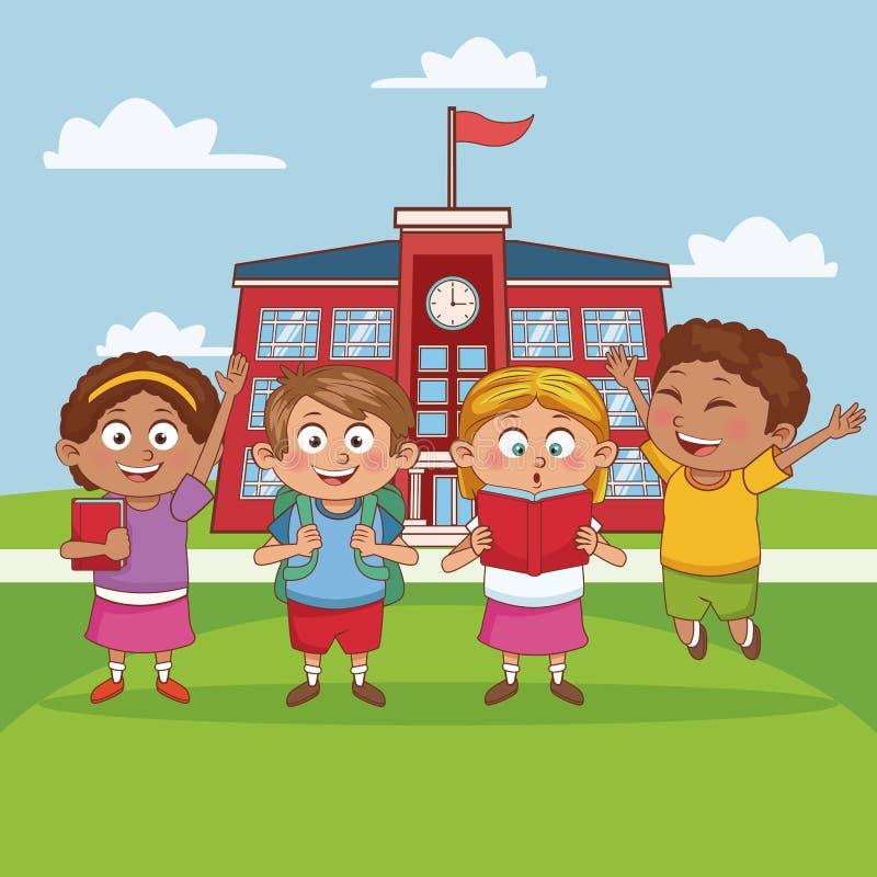 Dzieciaki w szkolnej kreskówce ilustracji