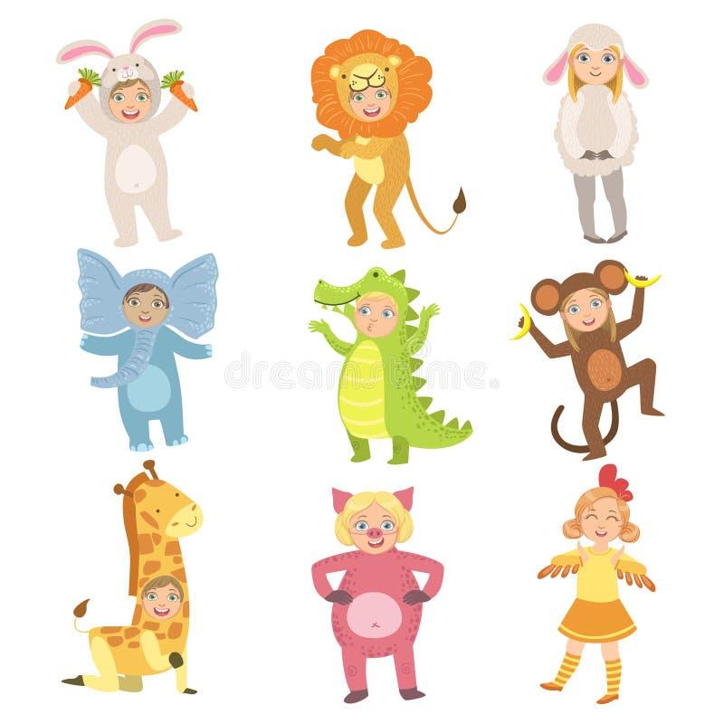 Dzieciaki W Zwierzęcych kostiumach Ustawiających ilustracja wektor