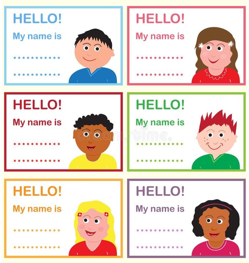 dzieciaki wymieniają etykietki ilustracja wektor
