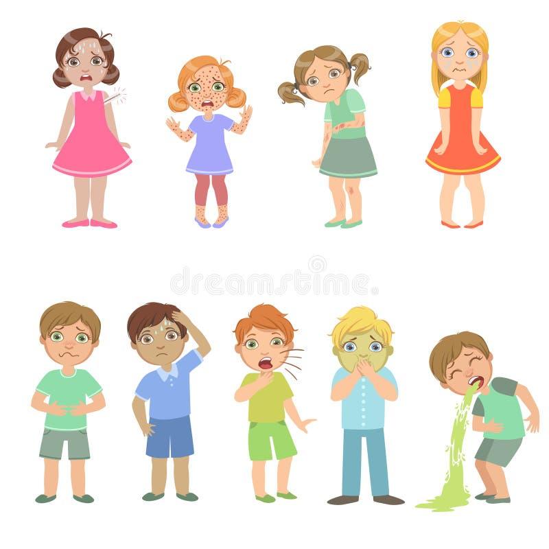 Dzieciaki Z dolegliwość Ustawiać ilustracja wektor