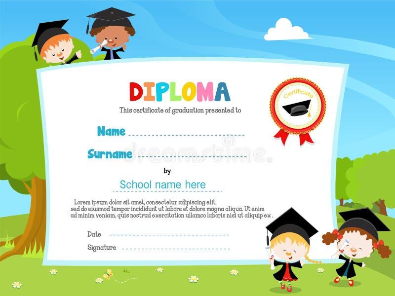 Dzieciaki Z dyplomem ilustracja wektor