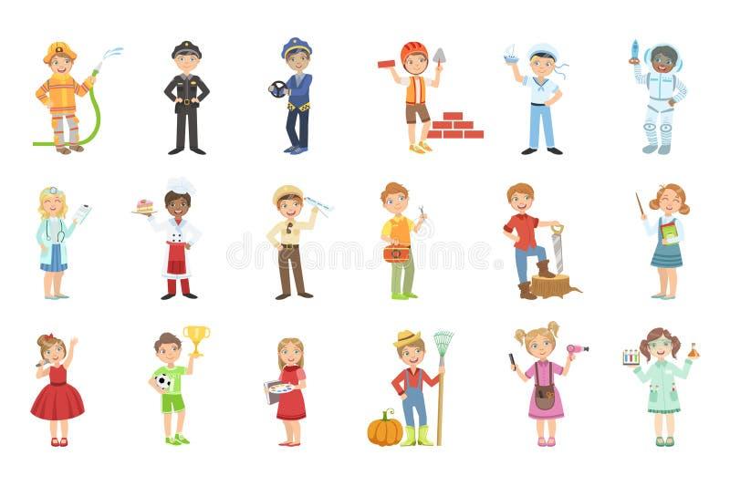 Dzieciaki Z Ich Przyszłościowej zawodów atrybutów koloru Jaskrawej kreskówki Prostym Stylowym Płaskim wektorem royalty ilustracja