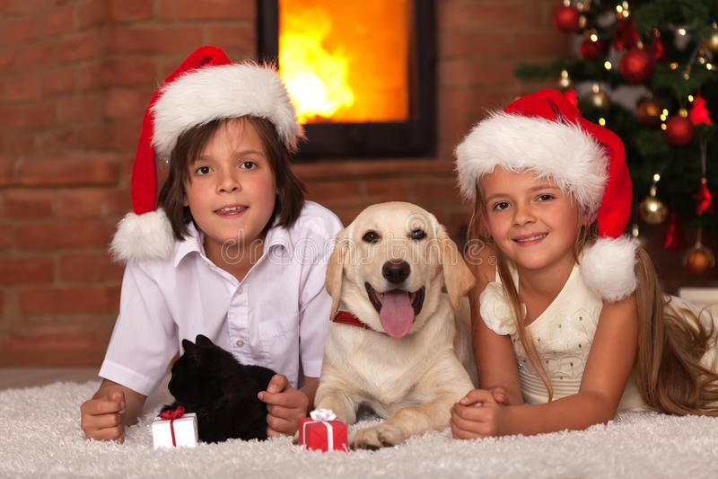 Dzieciaki z ich zwierzętami domowymi przy boże narodzenie czasem obrazy stock