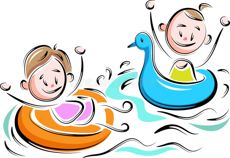 Dzieciaki z nadmuchiwaną basen zabawką ilustracji