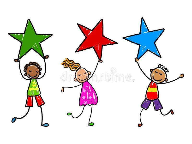 Dzieciaki z nagrodami Gwiazda żartuje wektorową ilustrację ilustracja wektor