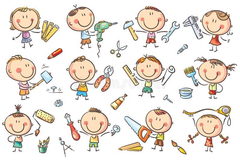 Dzieciaki z narzędziami ilustracja wektor